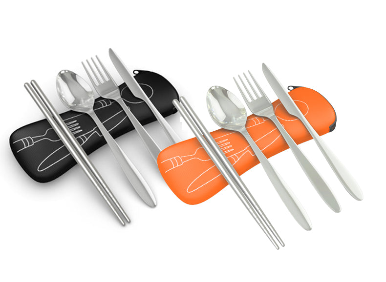 4 Piece Stainless Steel (Knife, Fork, Spoon, Chopsticks) Lightweight, Travel / Camping Cutlery Set with Neoprene Case