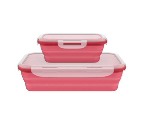 Collapsible Silicone Container Set with Lock Lids - Leakproof