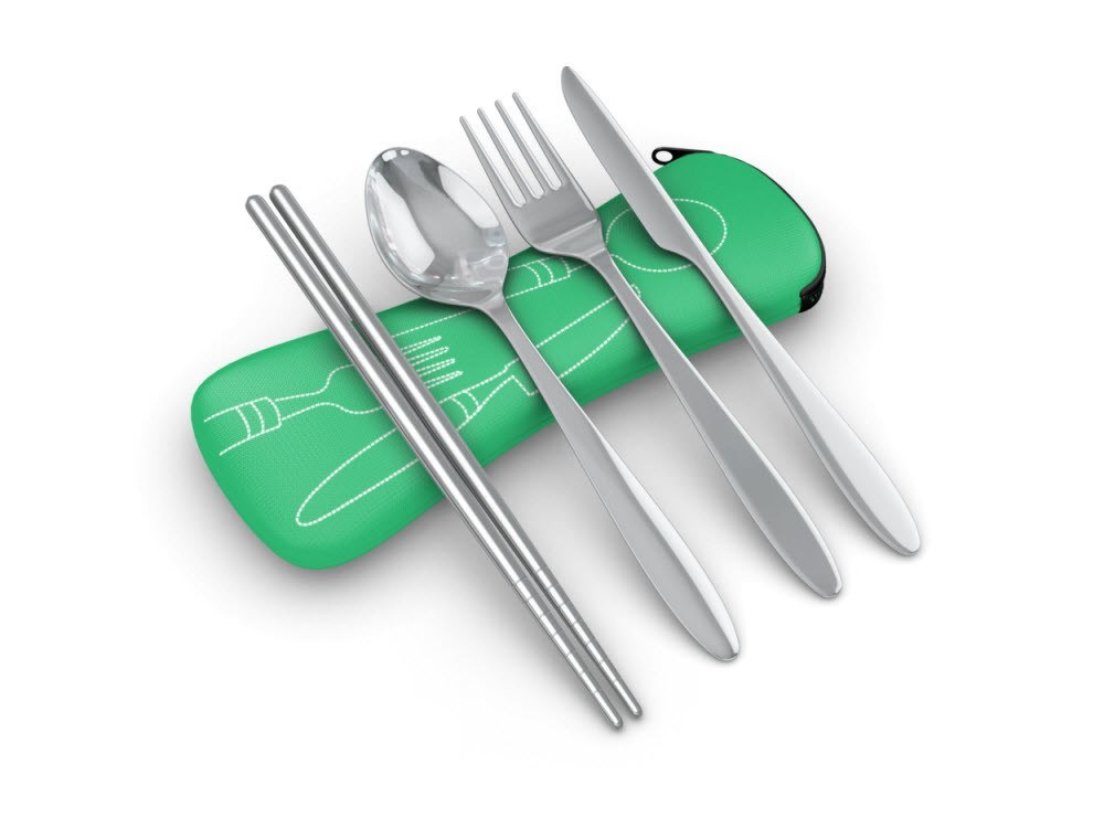 Utensils - 4 Piece Stainless Steel (Knife, Fork, Spoon, Chopsticks) Lightweight, Travel / Camping Cutlery Set With Neoprene Case