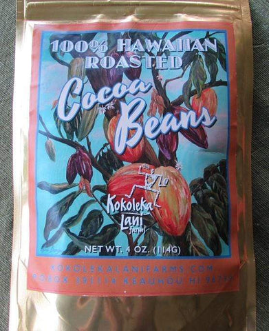 Chocolate 100% pure roasted cocoa beans and cocoa nibs from hawaii