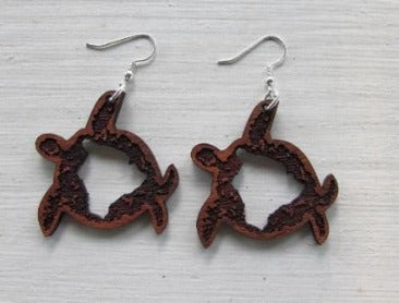 100% koa earrings with turtle design and big island image