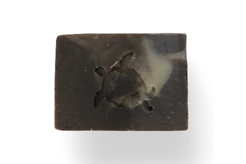 dark brown colored soap with marbled swirls of coffee and chocolate