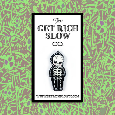 "SKELETON KEWPIE  1.5"" GLOW-IN-THE-DARK PIN"