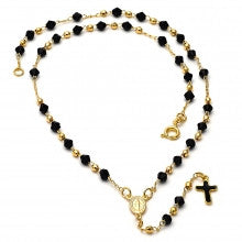 Gold Layered Thin Rosary, Virgen Maria and Cross Design, with Black Azavache, Black Polished Finish