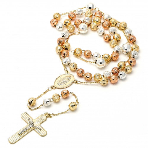Large Rosary Guadalupe  Diamond Cutting Finish