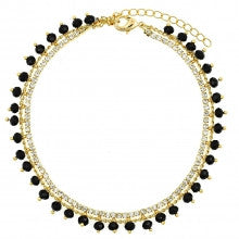 Brazilian Gold Layered  Charm Anklet, Disco and Ball Design, with White and Black Crystal and Black Azavache