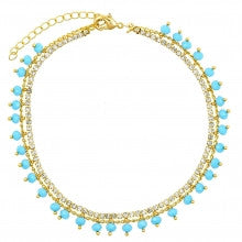 Gold Layered Charm Anklet, with White and Aquamarine Cubic Zirconia and Aquamarine Azavache, Turquoise