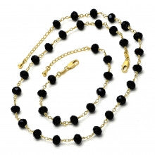 Gold Layered  Set Necklace and Bracelet, with Black Azavache
