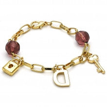 Gold Layered  Fancy Bracelet, Key and Lock Design, with Azavache