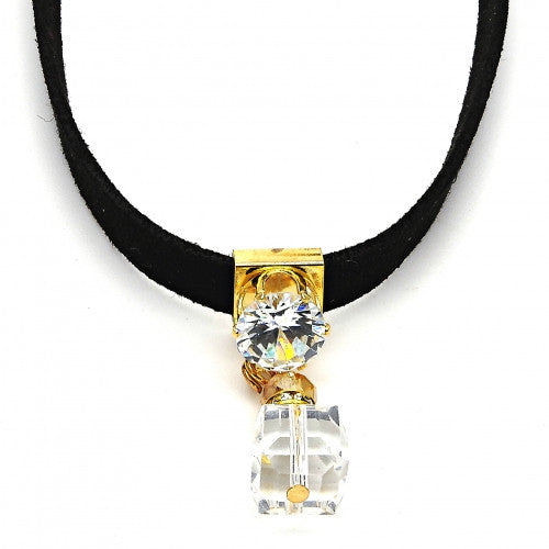 Gold Layered Fancy Necklace with White and White Cubic Zirconia and White Azavache