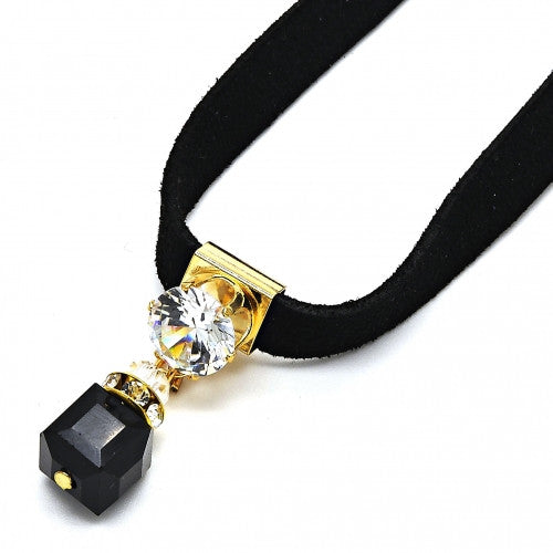 Gold Layered Fancy Necklace with White and Black Cubic Zirconia and Black Azavache