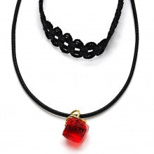 Gold Layered  Fancy Necklace, with Azavache, Polished Finish, Gold Tone. Black, White, Red