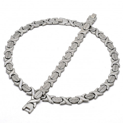 Stainless Steel  Set Necklace and Bracelet, Hugs and Kisses