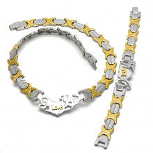 Stainless Steel Set Necklace and Bracelet, Hugs and Kisses and Love