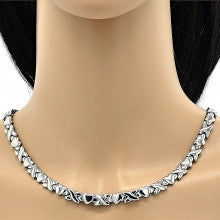 Stainless Steel  Set Necklace and Bracelet, Hugs and Kisses and Heart