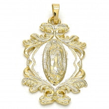 Gold Layered  Religious Pendant, Guadalupe