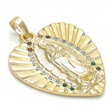 Gold Layered Religious Pendant, Heart and Guadalupe