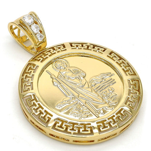 Gold Layered  Religious Pendant, San Judas and Greek Key