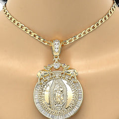 Gold Layered  Religious Pendant, Guadalupe and Elephant