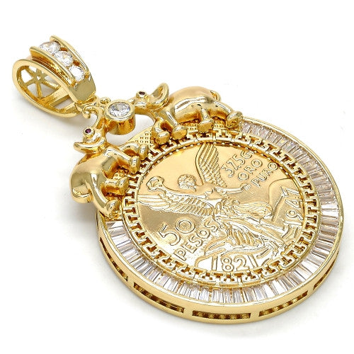 Gold Layered  Religious Pendant, Angel and Elephant