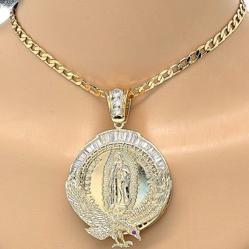 Gold Layered Religious Pendant, Guadalupe and Eagle