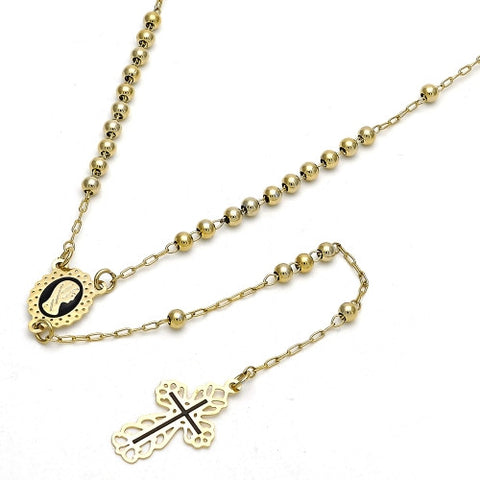 Gold Layered Thin Rosary, Guadalupe and Cross