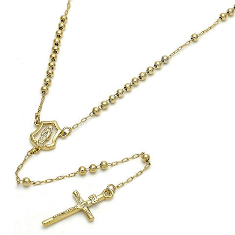 Gold Layered Thin Rosary, Guadalupe and Crucifix