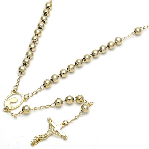 Gold Layered  Medium Rosary, Guadalupe and Crucifix