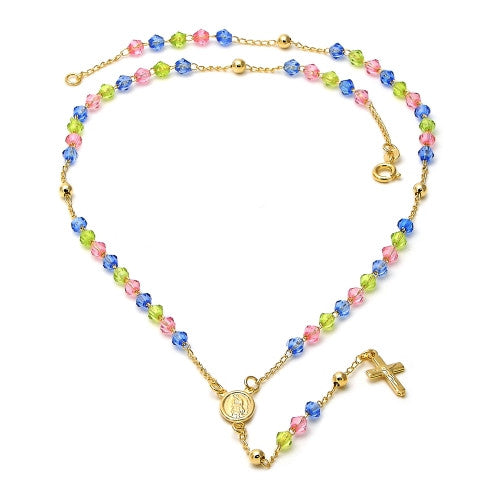 Gold Layered Thin Rosary, Divino Niño and  Guadalupe Crucifix