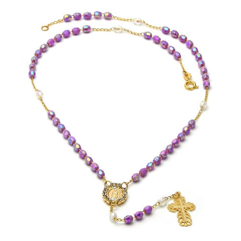 Gold Layered Thin Rosary, Guadalupe and Cross Design, with White Crystal, Purple Resin