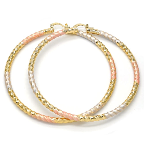 Extra Large Hoop, Hollow Design, Polished Finish, Gold Tone