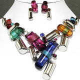 Necklace Earrings Set Lines Multi Color