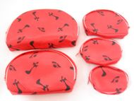 Make-Up Pouch-Hat and Heels-5pcs-Red