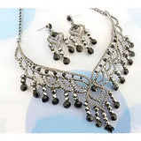 RHINESTONE DESIGN NECKLACE EARRING SET