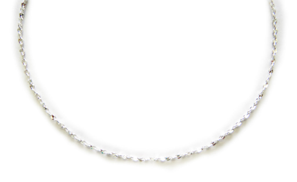 Sterling Silver Bonded Diamond Twisted Chain