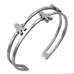 Stainless Steel Bangle w/ Three Boy/Girl  Shaped Sandblast Figures