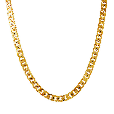 Gold PVD Coated Curb Link Stainless Steel Necklace