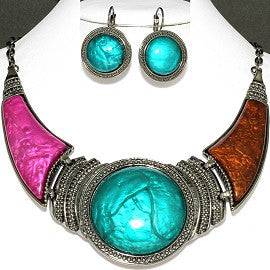 Necklace Earring Teal Magenta Brown Gray