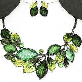 Necklace Earring Set Green Leaf Rhinestone