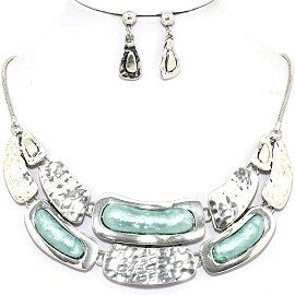 Necklace Earring Set Bar Silver
