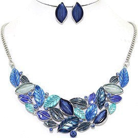 Necklace Earring Set Leaf Leaves Blue