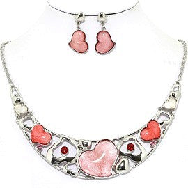 Necklace Earring Set Heart Silver Pink