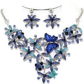 Necklace Earring Set Flower Butterfly