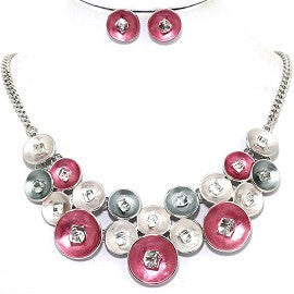 Circle Crystal Cube Necklace Earring Set