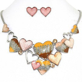 Necklace Earring Set Bunch Hearts