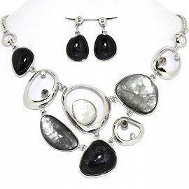 Necklace Earring Set Odd Oval Circles