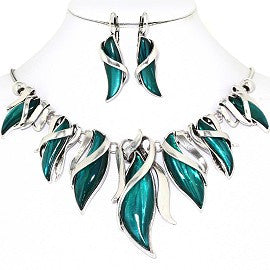 Curve Point Leaves Necklace Earring Set Silver Teal