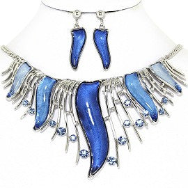 Curve Point Lines Necklace Earring Set Silver Blue