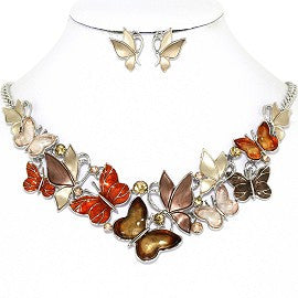 Butterfly Rhinestone Necklace Earring Set