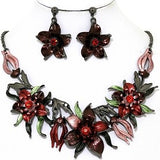 Necklace Earring Set Flowers